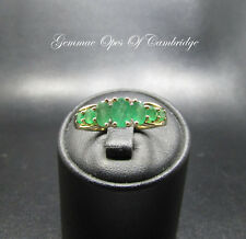 9K Gold 9ct Gold Emerald and Diamond Graduated Band Ring Size O 1/2 2.62g
