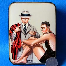 Russian hand painted LACQUER Box GAY INTEREST Sportsman Coach J.C. Leyendecker
