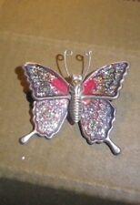 Vintage Butterfly Signed enamel Insect Brooch-NZ antique Estate
