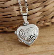 Solid 925 Sterling Silver Heart Locket Pendant Necklace Jewellery Box