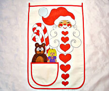 VINTAGE CHRISTMAS HAND PAINTED COTTON KITCHEN WALL TOWEL WITH POCKET