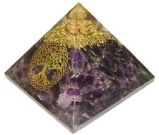 Amethsyt Stone Reiki Orgone Tree of Life Pyramid Orgonite Healing Gemstones