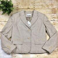 Petite Sophisticate Womens Size 14 Blazer Wool Herringbone Jacket Button Pockets