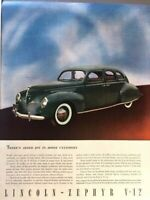 1938 Lincoln Zephyr V12 Vintage Advertisement Print Art Car Ad Poster LG70