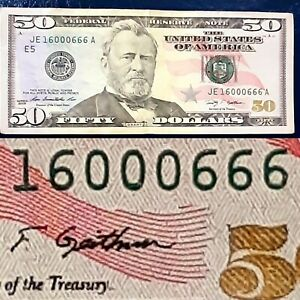 2009 $50 FANCY ALMOST BINARY SERIAL NUMBER BILL FOUR 6666 & TRIPLE  000