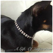 2 Row Rhinestone Dog Pet Bling jewellery Collar.Small. Length 22cm+9cm extender