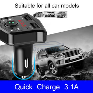 Car Bluetooth 5.0 Wireless FM Transmitter MP3 Music Player Dual USB Ports Charge