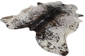 "Salt Pepper Brown & White Cowhide Rug - Size: XXLarge 8' x 6'5"" Ft | XLarge 7'5"