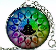 New  Buddha Meditation Chakra Necklace Buddha Chakra Pendant - Silver bf