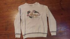 Cabelas Mens Knit Sweater Size Medium Christmas Deer White