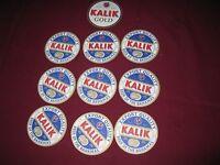 KALIK beer drink coasters lot of 10 same ( beer of the Bahamas)