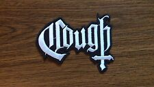 COUGH,IRON ON WHITE EMBROIDERED PATCH