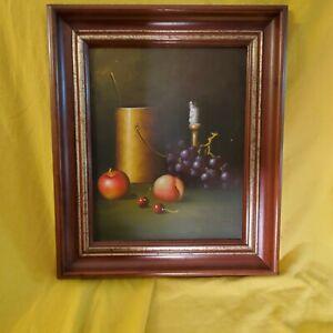Vintage Still Life Fruit Table Framed Painting Signed John Henry