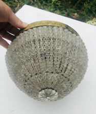 """Antique French Crystal Beaded Shade Basket Chandelier Shade Flush Mount 8"""""""
