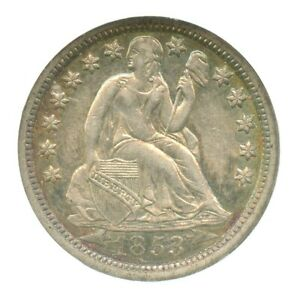 1853-O Arrows Liberty Seated Dime, NGC AU55