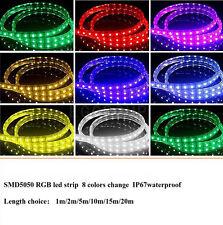 1-20M Waterproof SMD 5050 LED Strip 220V 60led/m Flexible Tape Rope Light + Plug
