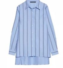Walter Baker Womens Button Up Shirt Tunic Size S Hi-low Striped $158 D1