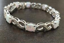 4.36 Ct Fire Opal Oval Diamond Cross Link Womens Bracelet 14k White Gold Finish