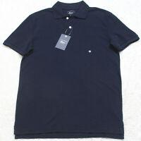 New G.H. Bass Blue Cotton Polo Shirt Short Sleeve Men's Man's Small 2-Button Top