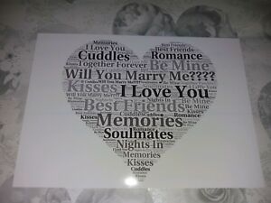 will you marry me? Word Art Keepsake Proposal/Wedding Gift
