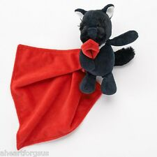 SECURITY BLANKET Carters DOG SCOTTIE BLACK red white fur neck rattle Blankey Boy