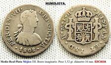 Fernando VII año 1808 TH. Medio Real Plata MEJICO. Busto imaginarioPeso 1,52 gr.