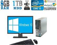 """DELL i5 Quad Cpu DESKTOP TOWER PC 19"""" TFT 1TB HDD 8GB DDR3  RAM WINDOWS 10 WiFi"""