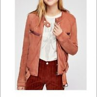 FREE PEOPLE RIDE BY KNIT MOTO JACKET SZ XS EXTRA SMALL Color Red Rocks
