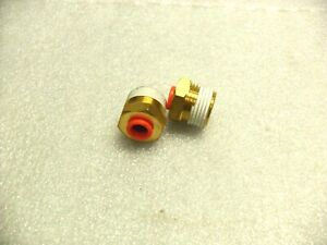 """QTY 2 SMC KQ2H07-03AS Straight Threaded-to-Tube Adapter,R 3/8 Male,Push In 1/4"""""""