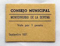 Spain-GUERRA CIVIL. 1 peseta 1937. Monterrubio de la Serena. SC-/UNC-. Raro
