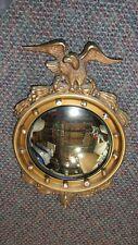 Antique / Vintage Federal Convex Bullseye Eagle Mirror 13 Colonies Nice !