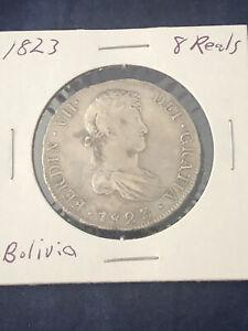 8 Reales 1823 Bolivia P J Silver Coin Ferdinand VII