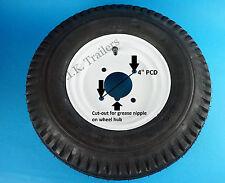 "Trailer Wheel & Tyre 400 x 8 4-Ply on 4"" Inch PCD Wheel - WHITE    #2"