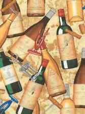 Wine Bottles and Corkscrews - Quilt Fabric - 1 Yard