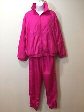 Vintage 80s Neon Pink Nylon TRACK SUIT Windbreaker Coat Jacket Pants Size Medium