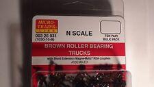 MICRO-TRAINS LINE # 003 25 031 BROWN ROLLER BEARING TRUCKS TEN PAIR BULK PACK