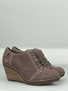 CLARKS Pink Suede Leather Mid-Ankle Wedge Lace-up Boots UK 4 | EUR 37 | US 6