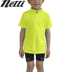 Netti Mini Breeze Kids Cycling Jersey - Fluro Yellow - Sizes 4, 6, 8, 10