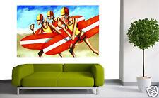"Art Painting Beach ""Rashie Racers"" surf life saving aussie ANDY BAKER  Australia"