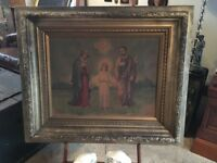 ANTIQUE RELIGIOUS LITHOGRAPH MARY JESUS SIGNED JOHN DUFFY NEW YORK CANVAS 1906