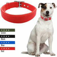 Nylon Padded Puppy Dog Collars Soft for Small Large Dogs Red Blue Black XS-XL