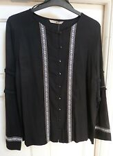 Ladies Black Long Sleeve Embroidery Blouse Size 14