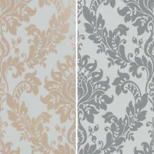 Opus Damask Wallpaper Holden Textured Heavy Weight Vinyl Rose Gold Grey Charcoal