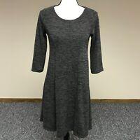 Everly Women's 3/4 Sleeve Knit Swing Dress Size S Gray Scoop Neck