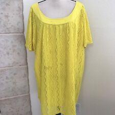 Roamans Women's Plus size Mini Shift Dress 3X Yellow Lined