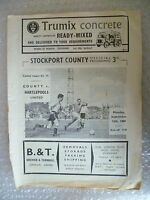 1960 STOCKPORT COUNTY v HARTLEPOOLS UNITED, 12th Sept ( League Division 4)