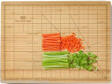 Fred Obsessive Chef Ruler Measurement Cutting Guide Marked Wooden Chopping Board