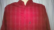 Mens Black Bay Shirt, Long Sleeves, Small Medium, Rayon / Poly, Red