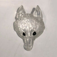 1.6inch-Natural White Crystal Quartz Wolf Sculpture Carving Reiki Healing-1PCS
