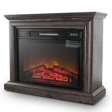 Large Room Electric Quartz Infrared Fireplace Heater Deluxe Mantel Oak / Walnut
